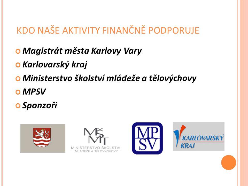 KDO NAŠE AKTIVITY FINANČNĚ PODPORUJE Magistrát města Karlovy Vary Karlovarský kraj Ministerstvo školství mládeže a tělovýchovy MPSV Sponzoři