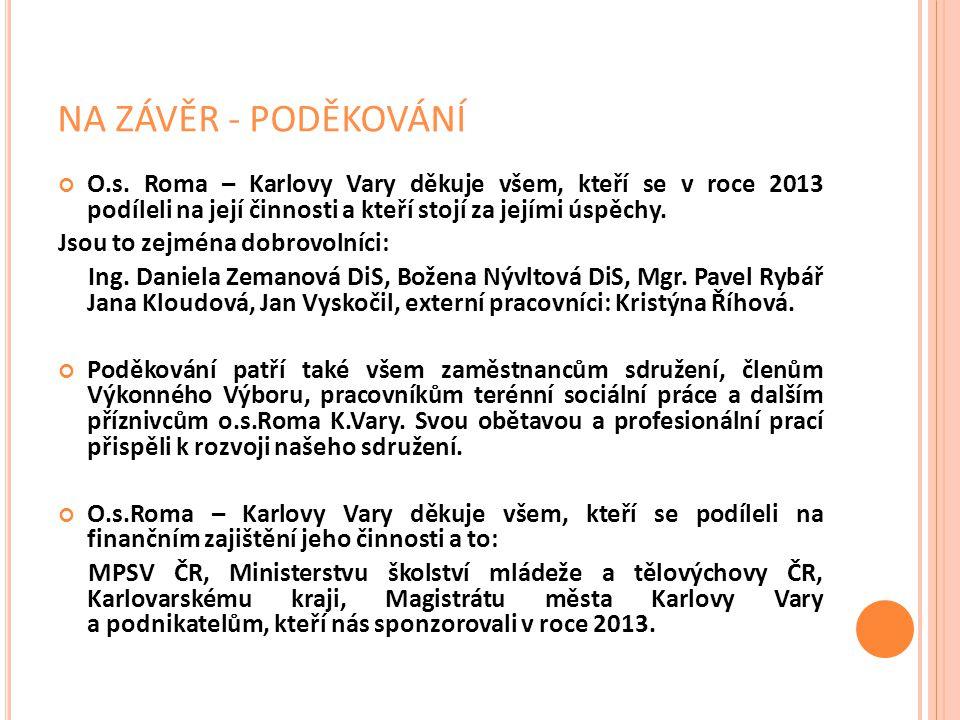 NA ZÁVĚR - PODĚKOVÁNÍ O.s. Roma – Karlovy Vary děkuje všem, kteří se v roce 2013 podíleli na její činnosti a kteří stojí za jejími úspěchy. Jsou to ze