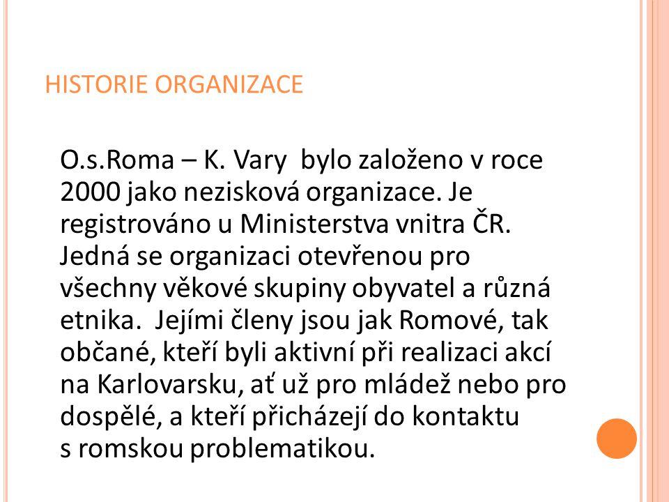 HISTORIE ORGANIZACE O.s.Roma – K. Vary bylo založeno v roce 2000 jako nezisková organizace. Je registrováno u Ministerstva vnitra ČR. Jedná se organiz