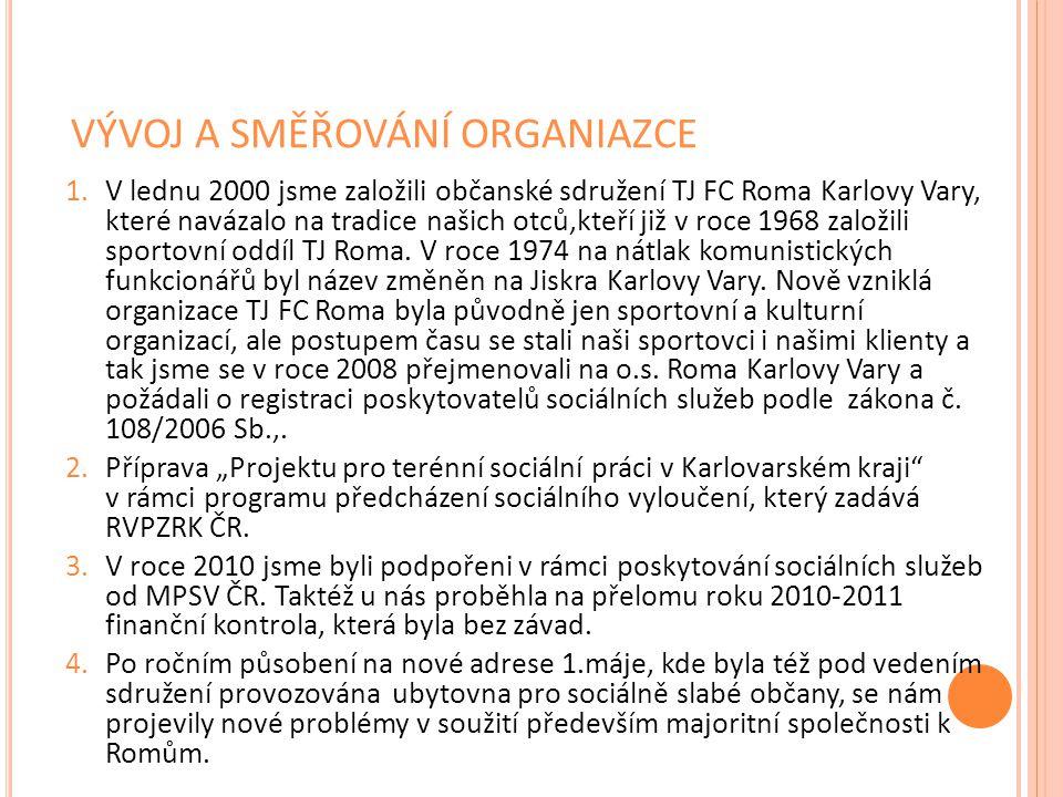 VÝVOJ A SMĚŘOVÁNÍ ORGANIAZCE 1.V lednu 2000 jsme založili občanské sdružení TJ FC Roma Karlovy Vary, které navázalo na tradice našich otců,kteří již v