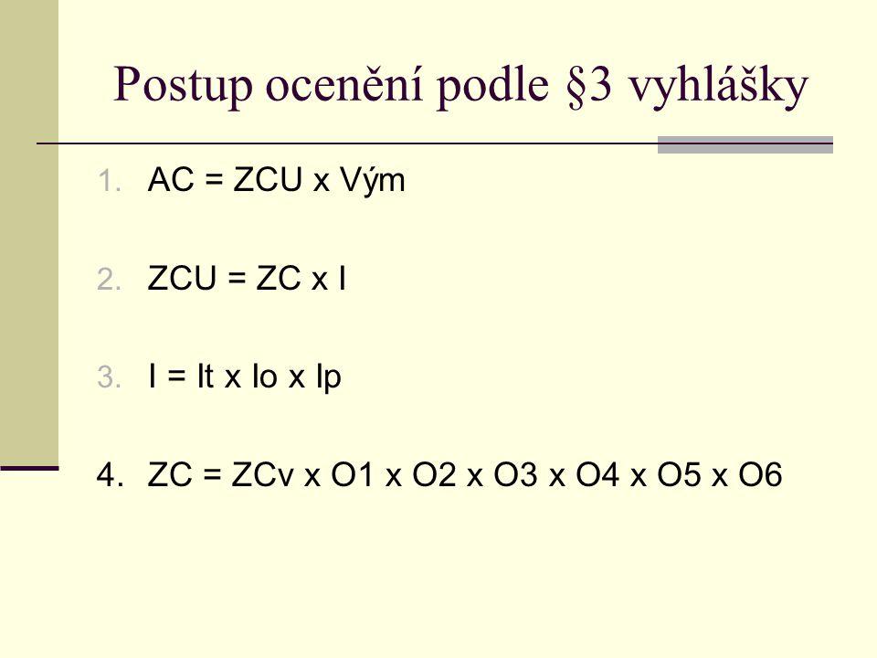 Postup ocenění podle §3 vyhlášky 1. AC = ZCU x Vým 2. ZCU = ZC x I 3. I = It x Io x Ip 4. ZC = ZCv x O1 x O2 x O3 x O4 x O5 x O6