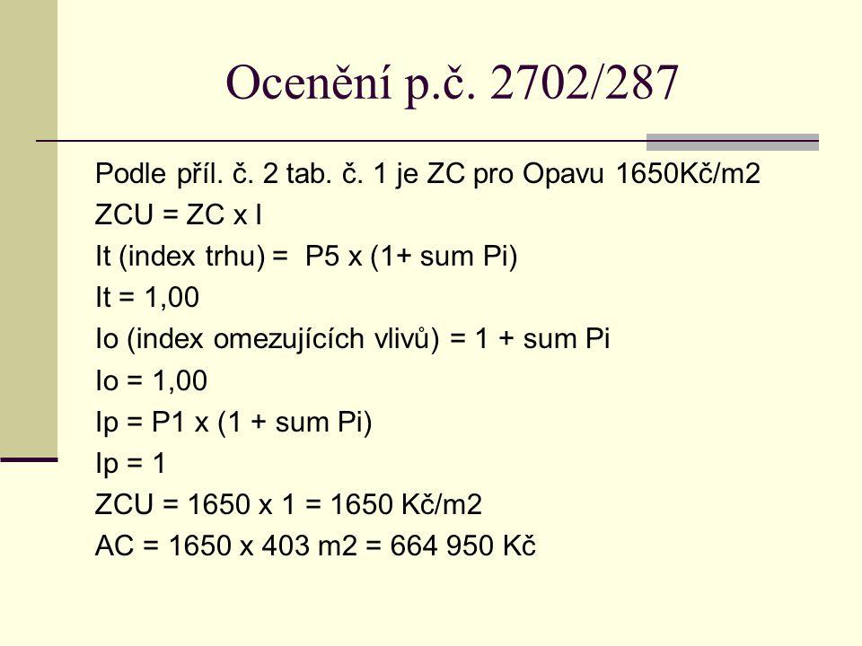 Ocenění p.č. 2702/287 Podle příl. č. 2 tab. č. 1 je ZC pro Opavu 1650Kč/m2 ZCU = ZC x I It (index trhu) = P5 x (1+ sum Pi) It = 1,00 Io (index omezují