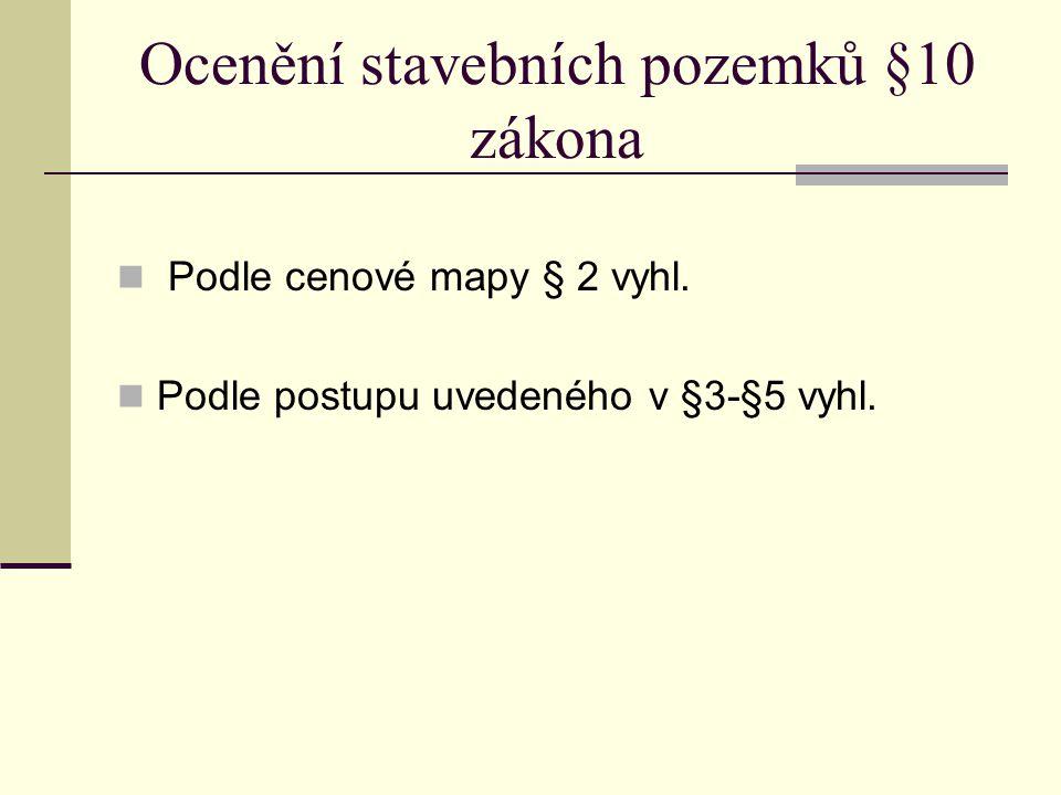 Ocenění stavebních pozemků §10 zákona Podle cenové mapy § 2 vyhl. Podle postupu uvedeného v §3-§5 vyhl.