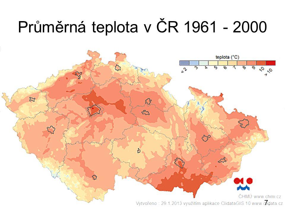 Průměrná teplota v ČR 1961 - 2000 7.