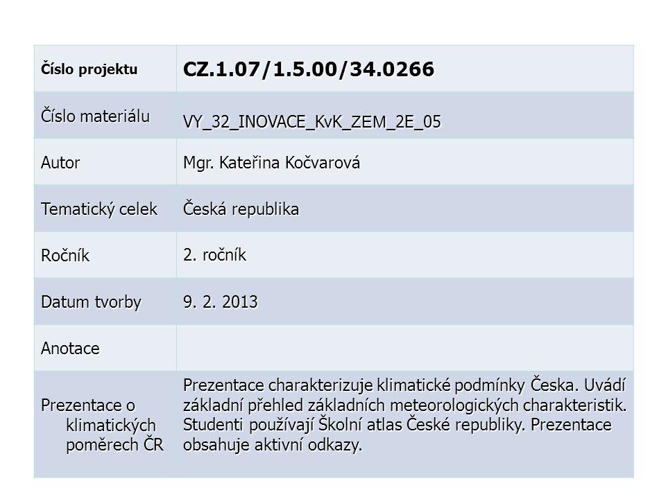 Číslo projektu CZ.1.07/1.5.00/34.0266 Číslo materiálu VY_32_INOVACE_KvK_ ZEM _2E_05 Autor Mgr.