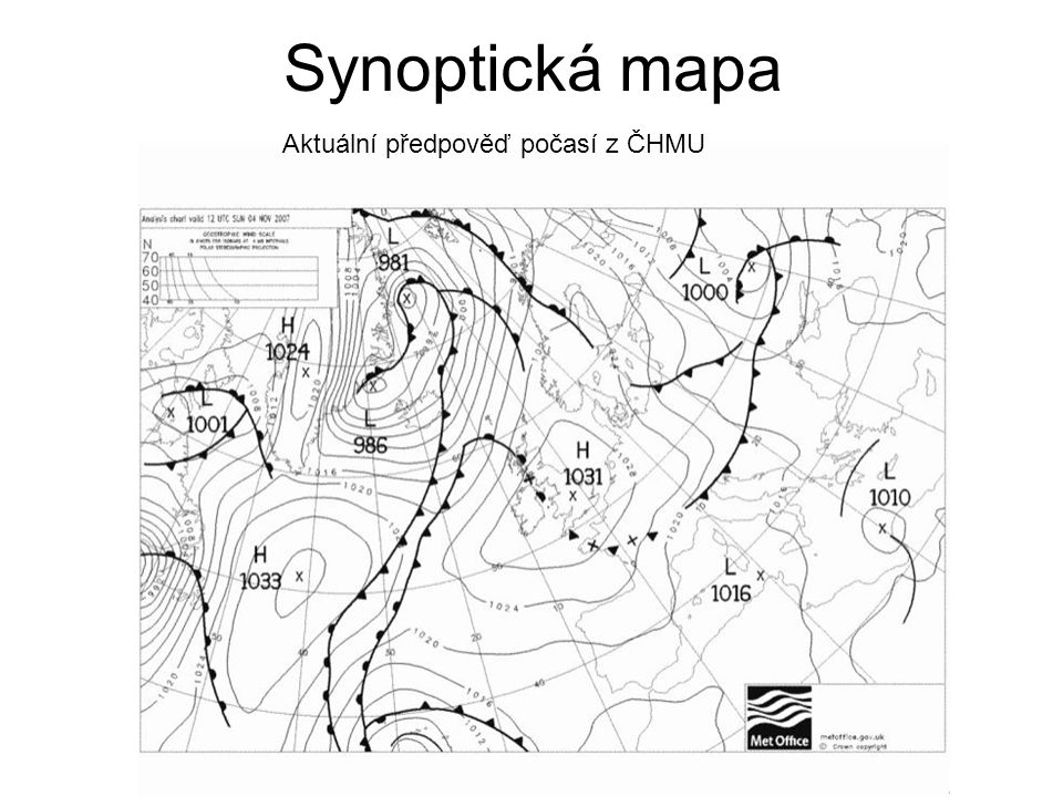 Synoptická mapa Aktuální předpověď počasí z ČHMU