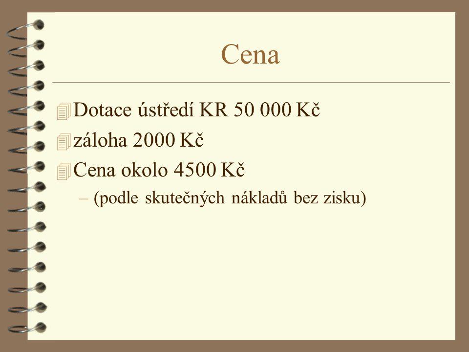 Cena 4 Dotace ústředí KR 50 000 Kč 4 záloha 2000 Kč 4 Cena okolo 4500 Kč –(podle skutečných nákladů bez zisku)