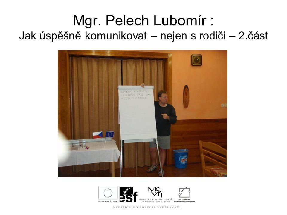 Mgr. Pelech Lubomír : Jak úspěšně komunikovat – nejen s rodiči – 2.část