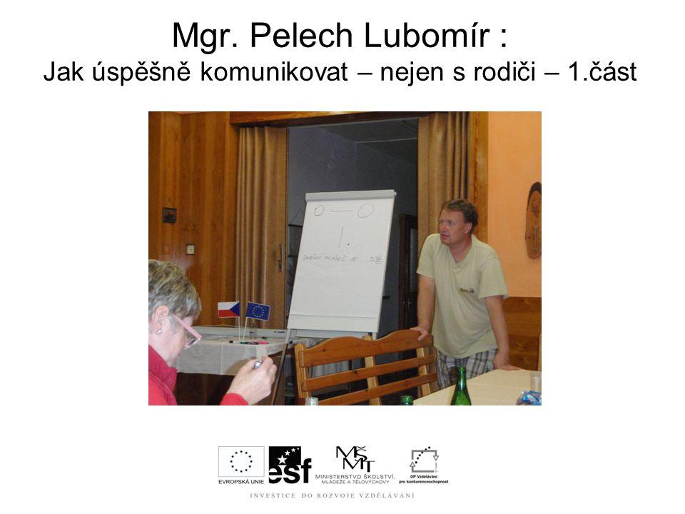 Mgr. Pelech Lubomír : Jak úspěšně komunikovat – nejen s rodiči – 1.část