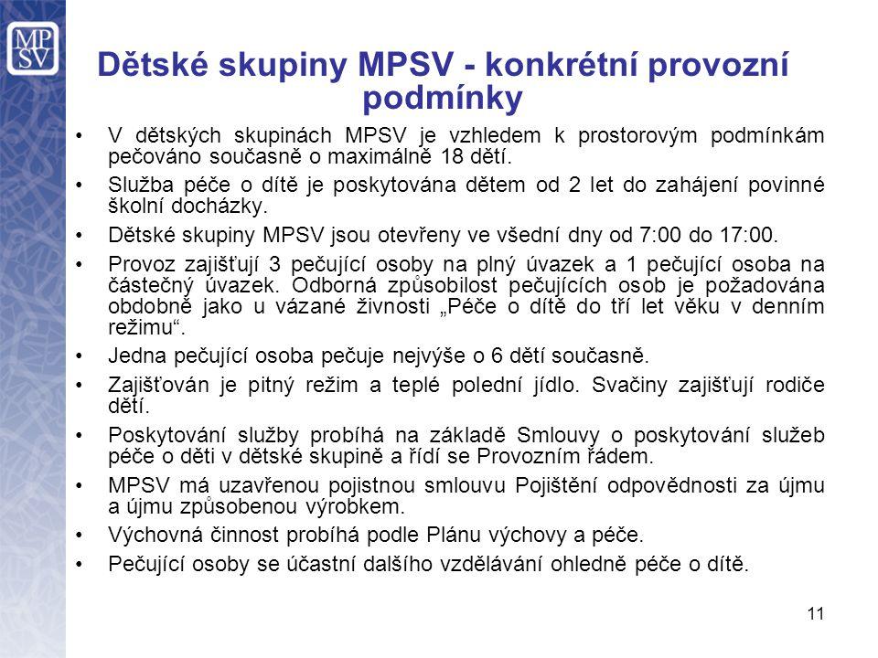 Dětské skupiny MPSV - konkrétní provozní podmínky V dětských skupinách MPSV je vzhledem k prostorovým podmínkám pečováno současně o maximálně 18 dětí.