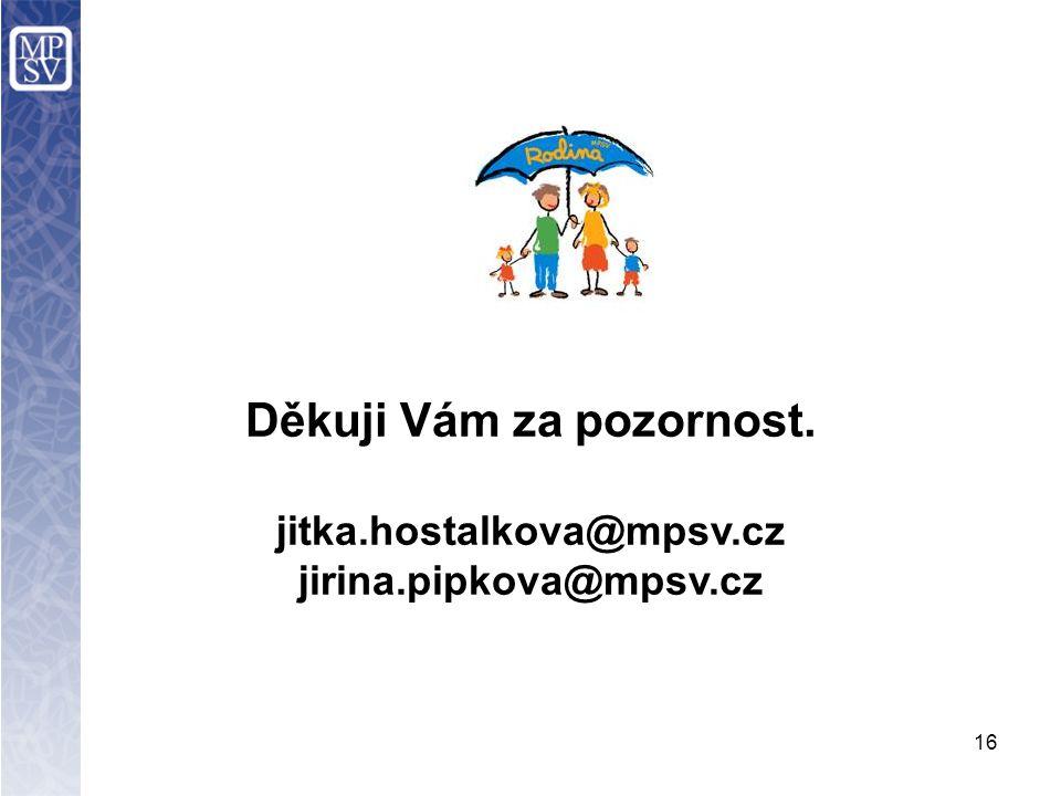 Děkuji Vám za pozornost. jitka.hostalkova@mpsv.cz jirina.pipkova@mpsv.cz 16