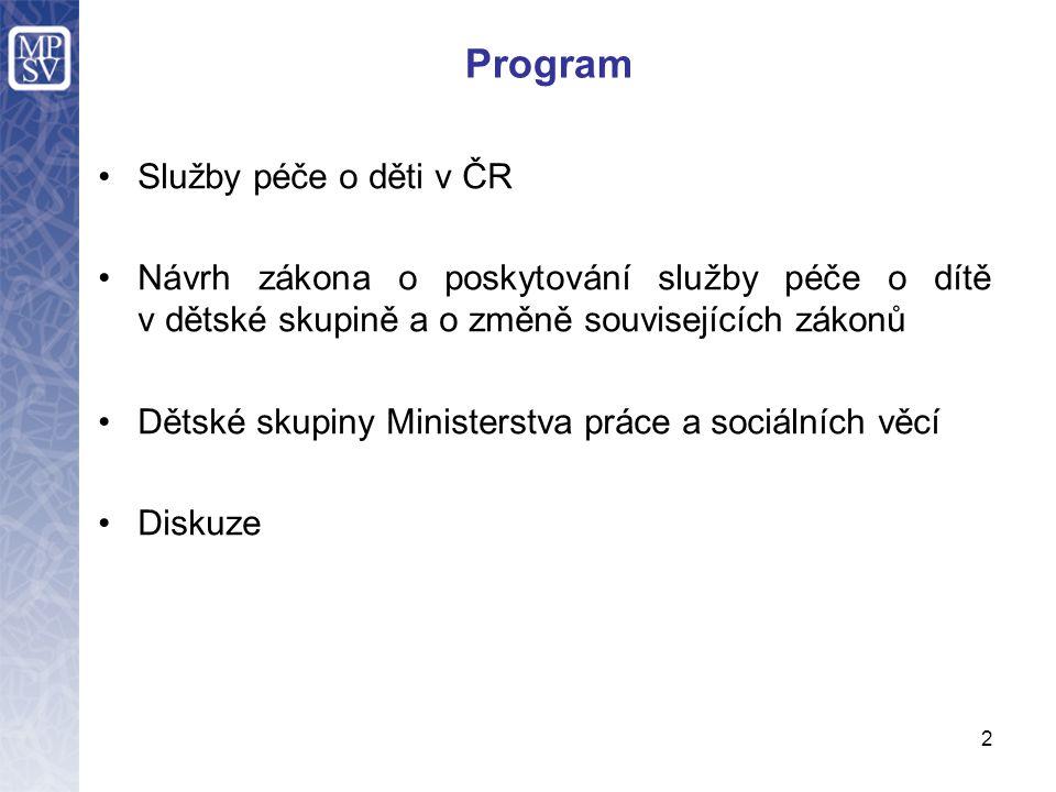 Program Služby péče o děti v ČR Návrh zákona o poskytování služby péče o dítě v dětské skupině a o změně souvisejících zákonů Dětské skupiny Ministers