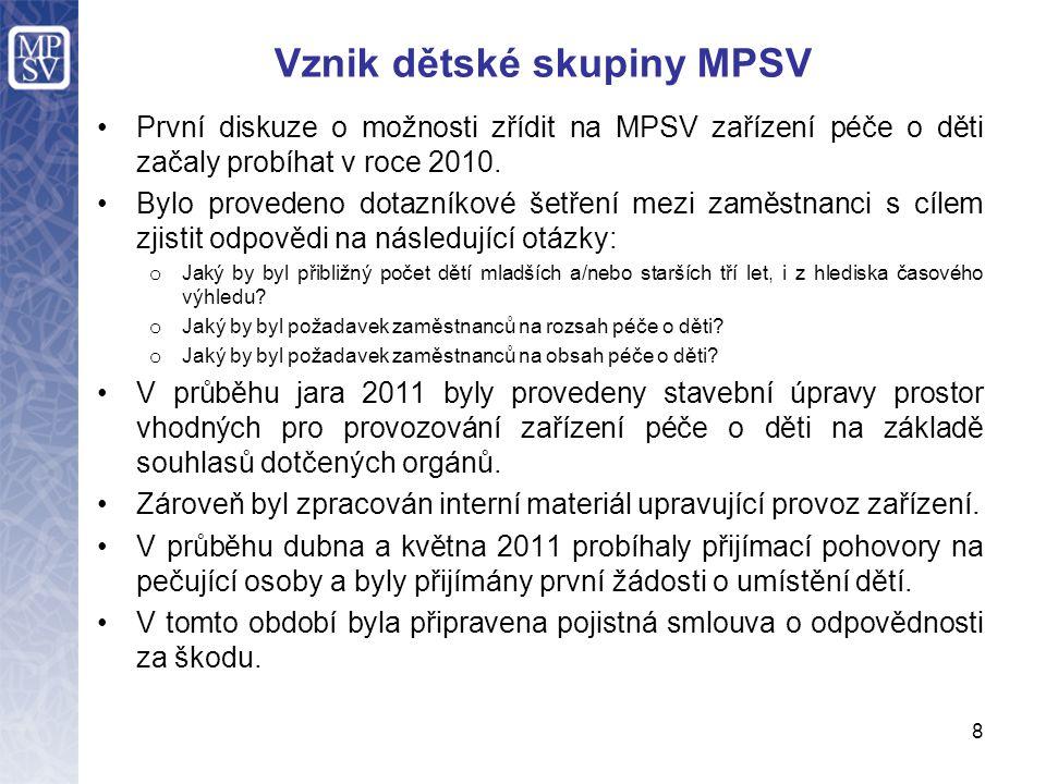 Vznik dětské skupiny MPSV První diskuze o možnosti zřídit na MPSV zařízení péče o děti začaly probíhat v roce 2010. Bylo provedeno dotazníkové šetření