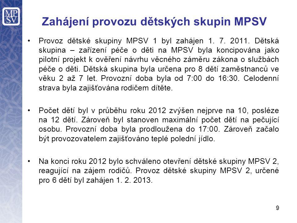 Zahájení provozu dětských skupin MPSV Provoz dětské skupiny MPSV 1 byl zahájen 1. 7. 2011. Dětská skupina – zařízení péče o děti na MPSV byla koncipov
