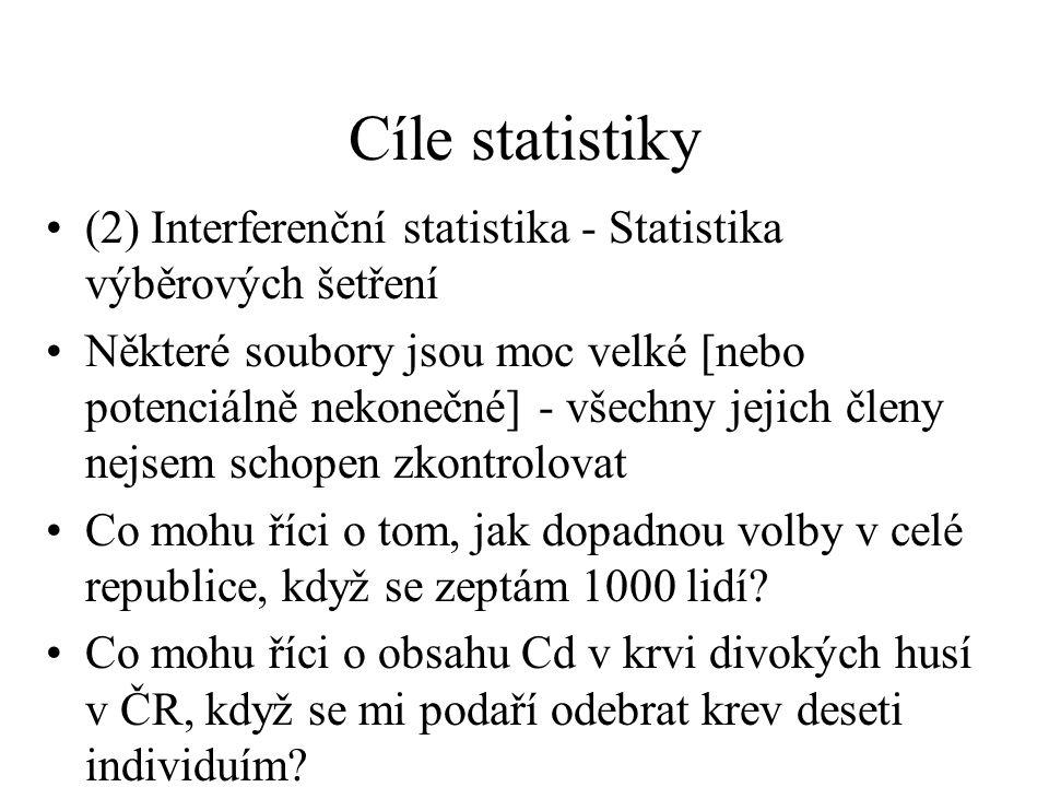 Cíle statistiky (2) Interferenční statistika - Statistika výběrových šetření Některé soubory jsou moc velké [nebo potenciálně nekonečné] - všechny jej
