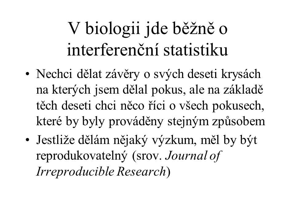 V biologii jde běžně o interferenční statistiku Nechci dělat závěry o svých deseti krysách na kterých jsem dělal pokus, ale na základě těch deseti chc