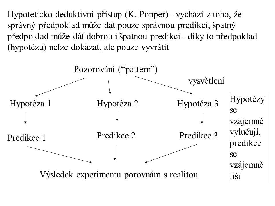 Hypoteticko-deduktivní přístup (K. Popper) - vychází z toho, že správný předpoklad může dát pouze správnou predikci, špatný předpoklad může dát dobrou