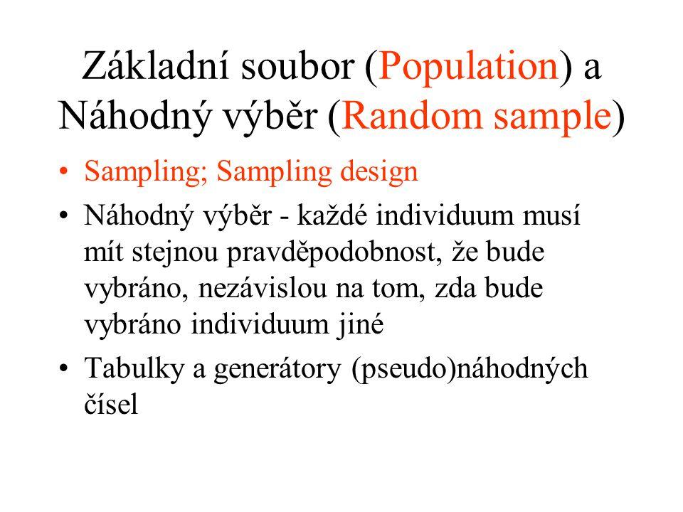 Základní soubor (Population) a Náhodný výběr (Random sample) Sampling; Sampling design Náhodný výběr - každé individuum musí mít stejnou pravděpodobno