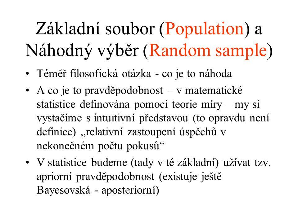 Základní soubor (Population) a Náhodný výběr (Random sample) Téměř filosofická otázka - co je to náhoda A co je to pravděpodobnost – v matematické sta
