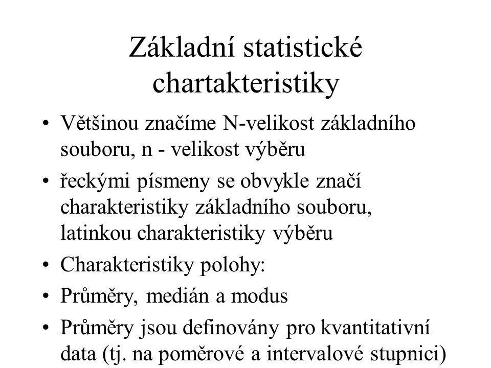Základní statistické chartakteristiky Většinou značíme N-velikost základního souboru, n - velikost výběru řeckými písmeny se obvykle značí charakteris