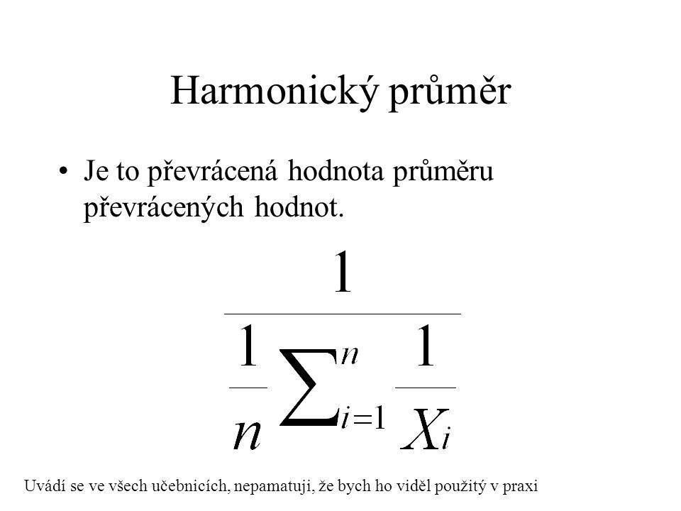 Harmonický průměr Je to převrácená hodnota průměru převrácených hodnot. Uvádí se ve všech učebnicích, nepamatuji, že bych ho viděl použitý v praxi