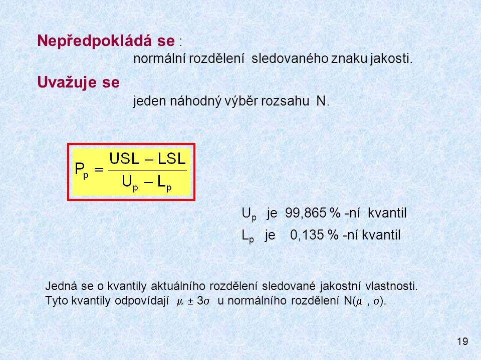 19 Nepředpokládá se : normální rozdělení sledovaného znaku jakosti. Uvažuje se jeden náhodný výběr rozsahu N. U p je 99,865 % -ní kvantil L p je 0,135