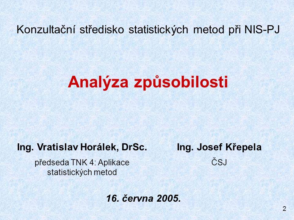 2 Konzultační středisko statistických metod při NIS-PJ Analýza způsobilosti Ing. Vratislav Horálek, DrSc. předseda TNK 4: Aplikace statistických metod