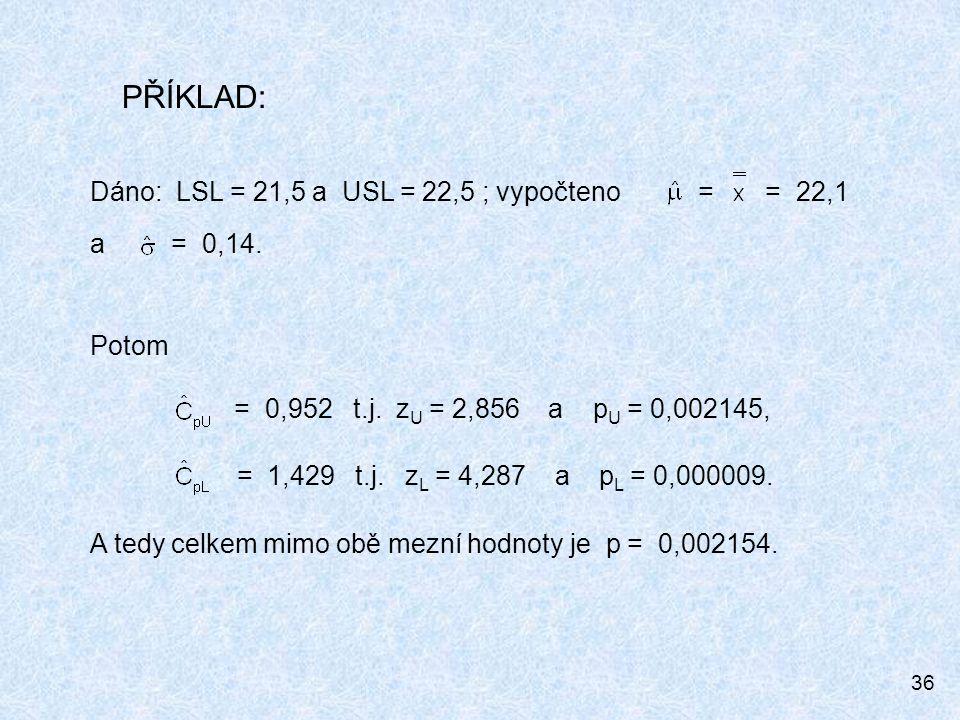 36 Dáno: LSL = 21,5 a USL = 22,5 ; vypočteno = = 22,1 a = 0,14. Potom = 0,952 t.j. z U = 2,856 a p U = 0,002145, = 1,429 t.j. z L = 4,287 a p L = 0,00