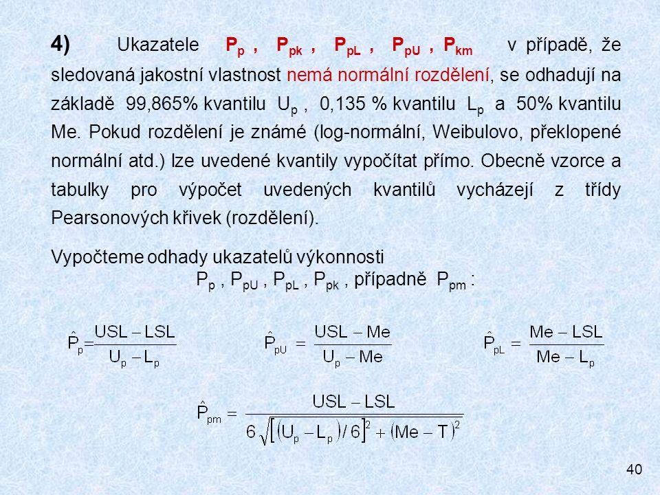 40 4) Ukazatele P p, P pk, P pL, P pU, P km v případě, že sledovaná jakostní vlastnost nemá normální rozdělení, se odhadují na základě 99,865% kvantil