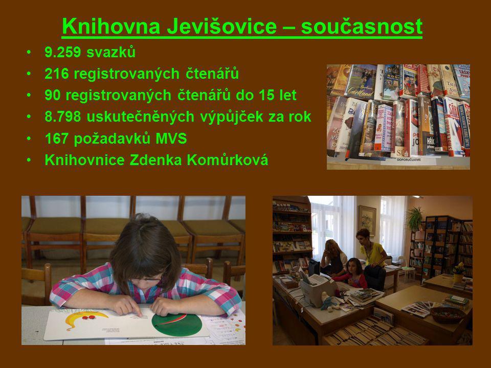 Knihovna Jevišovice – současnost 9.259 svazků 216 registrovaných čtenářů 90 registrovaných čtenářů do 15 let 8.798 uskutečněných výpůjček za rok 167 požadavků MVS Knihovnice Zdenka Komůrková