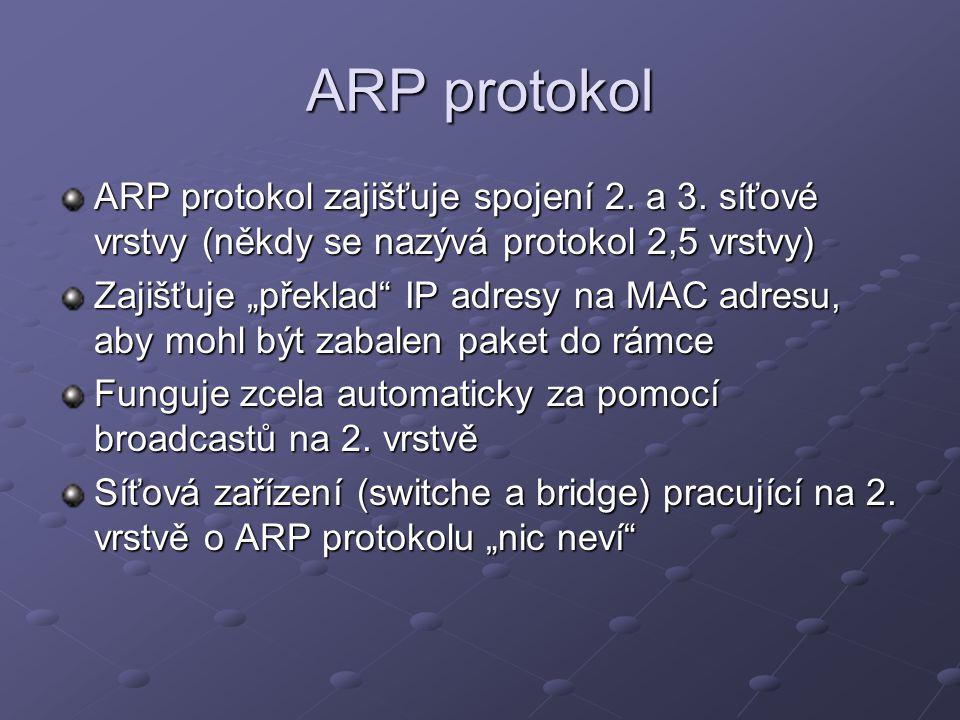 ARP protokol AA:AA:AA:AA:AA:AABB:BB:BB:BB:BB:BB 192.168.1.1192.168.1.2 A B 192.168.1.1 192.168.1.2 DATA C