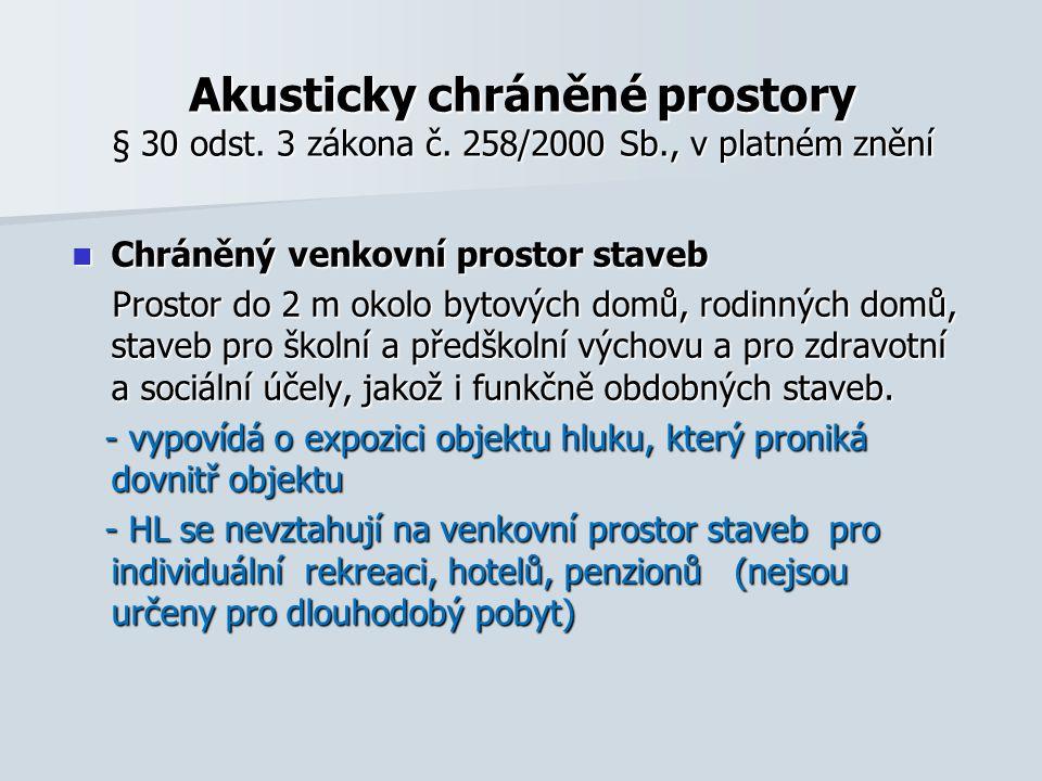 Akusticky chráněné prostory § 30 odst.3 zákona č.
