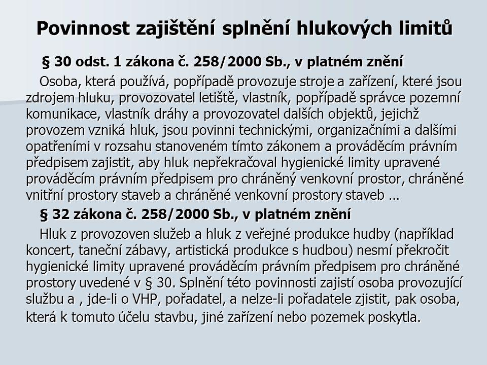 Povinnost zajištění splnění hlukových limitů § 30 odst.