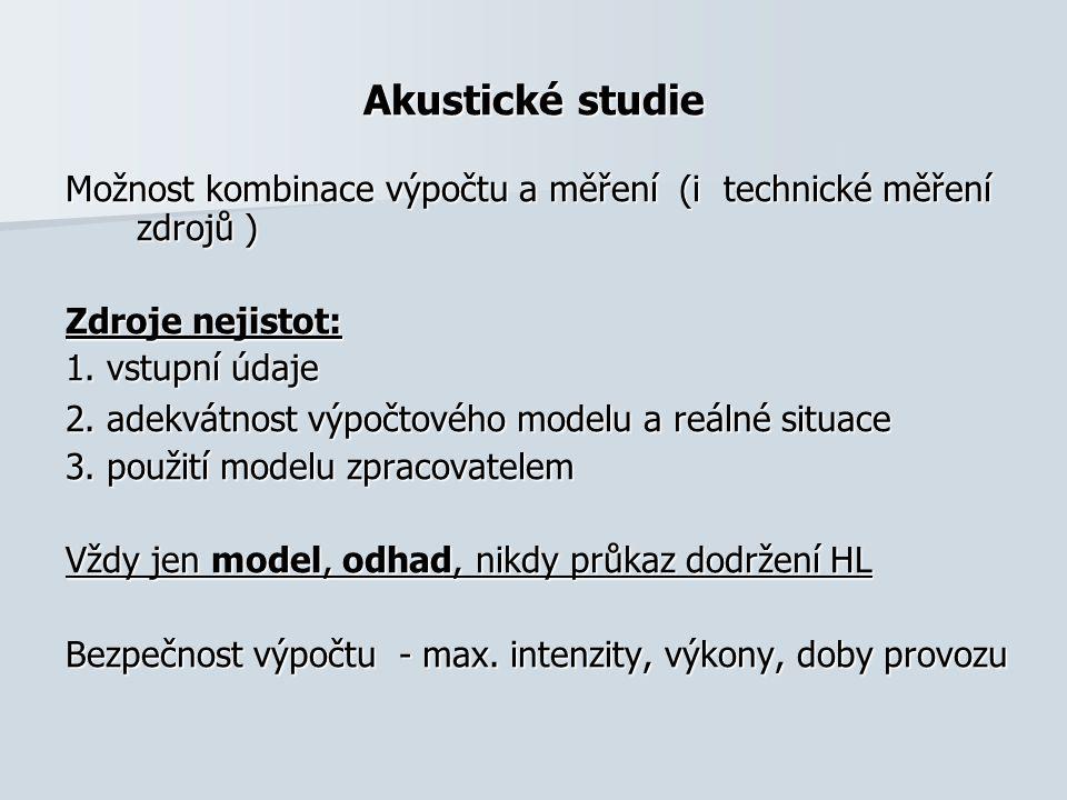Akustické studie Možnost kombinace výpočtu a měření (i technické měření zdrojů ) Zdroje nejistot: 1.