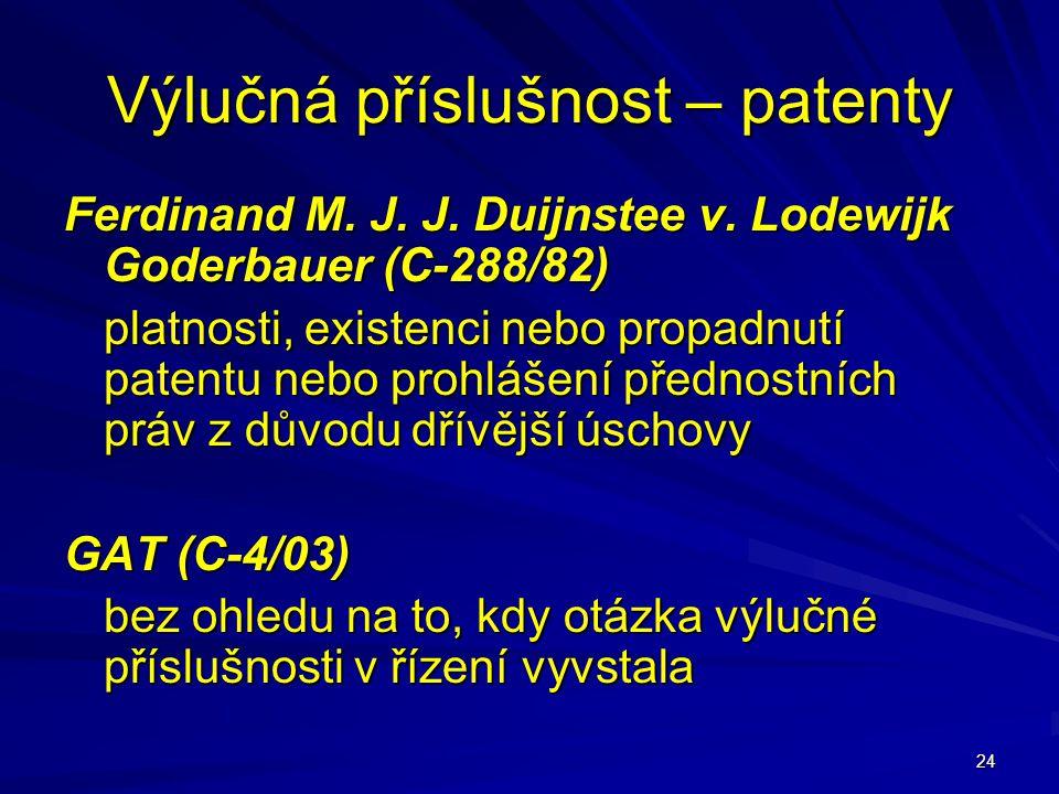 24 Výlučná příslušnost – patenty Ferdinand M. J. J. Duijnstee v. Lodewijk Goderbauer (C-288/82) platnosti, existenci nebo propadnutí patentu nebo proh