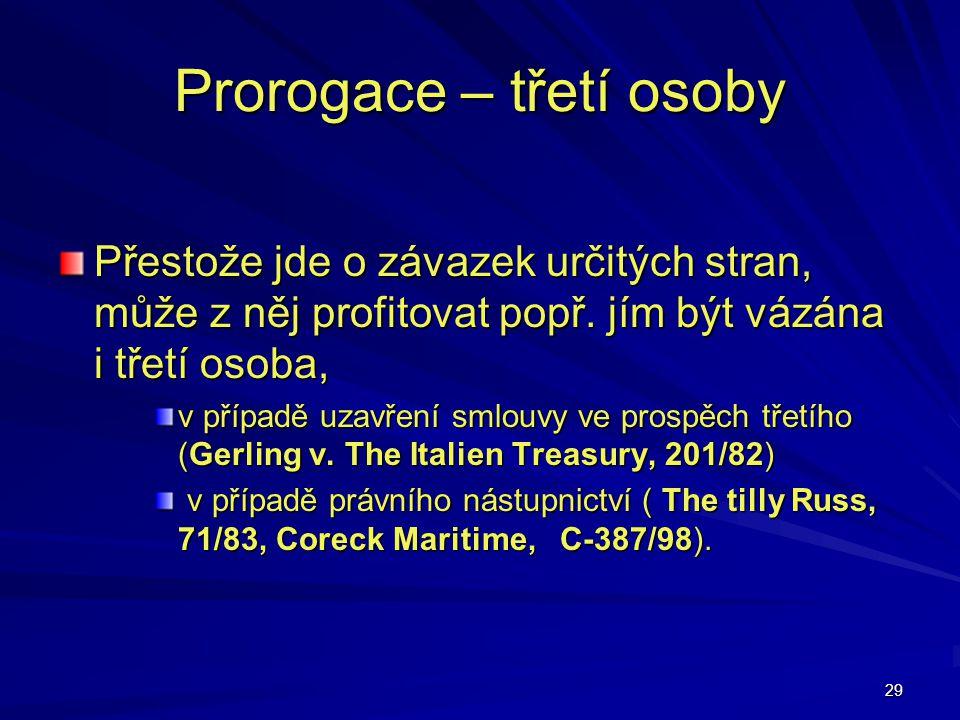 29 Prorogace – třetí osoby Přestože jde o závazek určitých stran, může z něj profitovat popř. jím být vázána i třetí osoba, v případě uzavření smlouvy