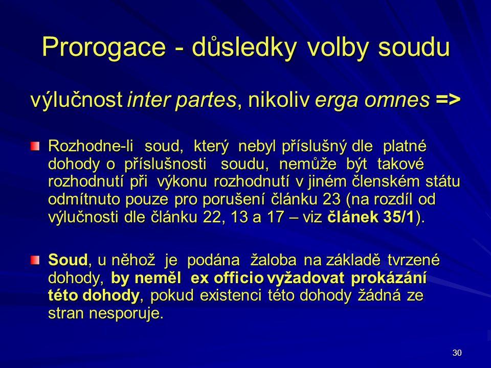 30 Prorogace - důsledky volby soudu výlučnost inter partes, nikoliv erga omnes => Rozhodne-li soud, který nebyl příslušný dle platné dohody o příslušn