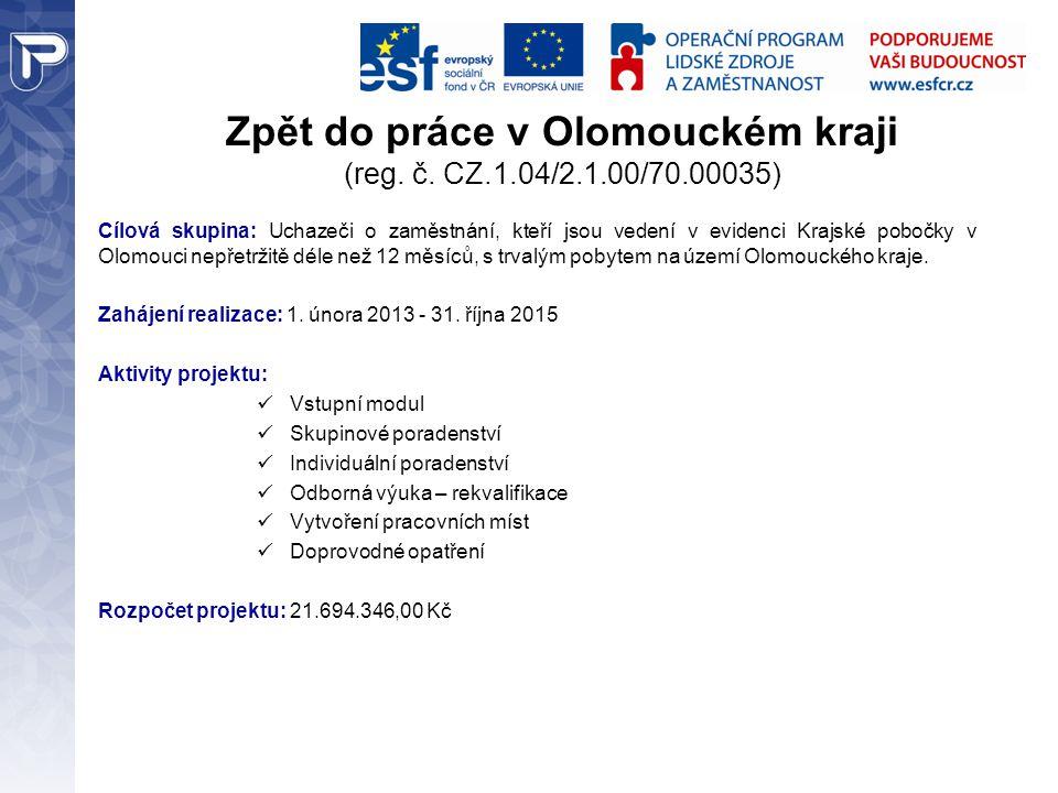Zpět do práce v Olomouckém kraji (reg. č. CZ.1.04/2.1.00/70.00035) Cílová skupina: Uchazeči o zaměstnání, kteří jsou vedení v evidenci Krajské pobočky