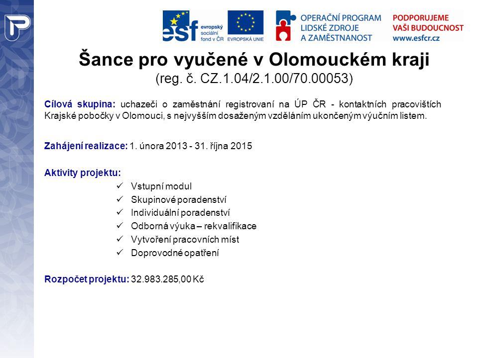 Šance pro vyučené v Olomouckém kraji (reg. č. CZ.1.04/2.1.00/70.00053) Cílová skupina: uchazeči o zaměstnání registrovaní na ÚP ČR - kontaktních praco