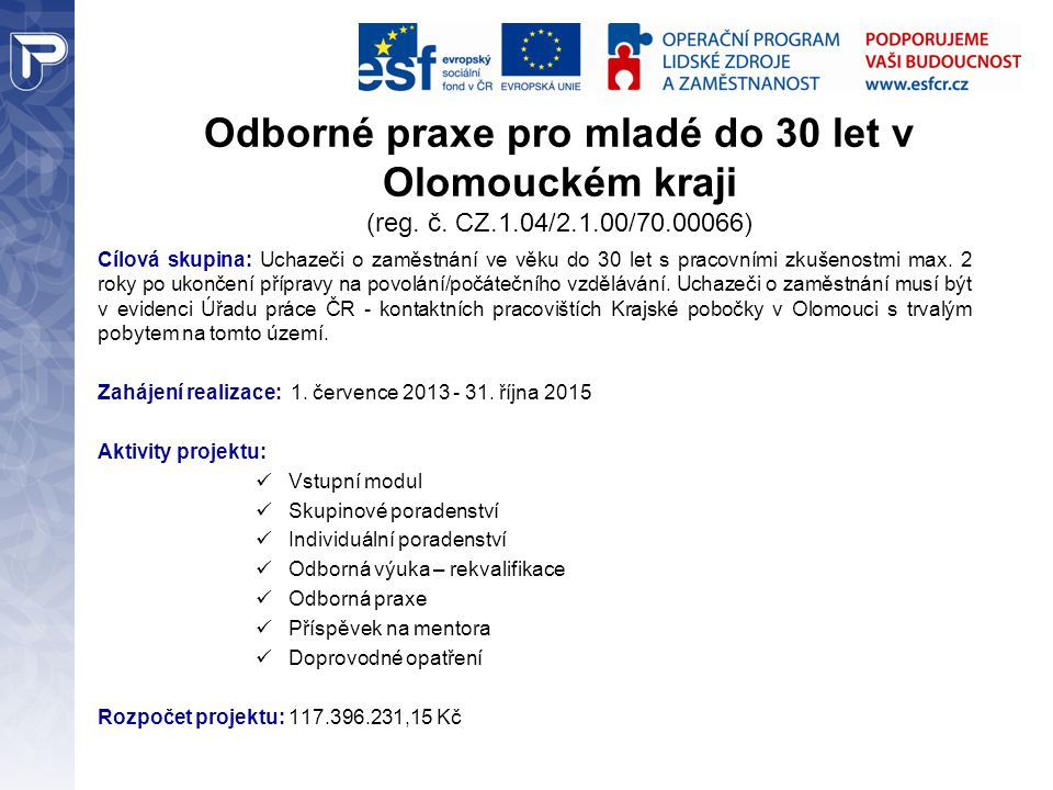 Odborné praxe pro mladé do 30 let v Olomouckém kraji (reg.