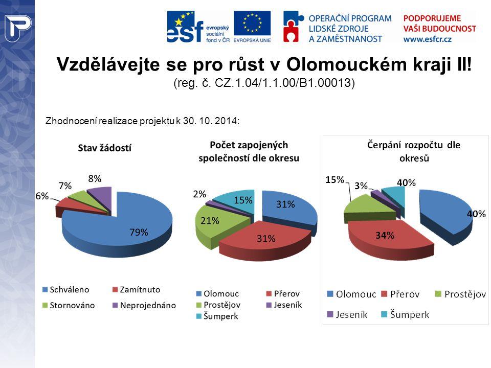 Vzdělávejte se pro růst v Olomouckém kraji II! (reg. č. CZ.1.04/1.1.00/B1.00013) Zhodnocení realizace projektu k 30. 10. 2014: