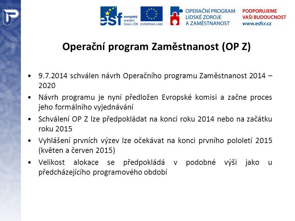 Operační program Zaměstnanost (OP Z) 9.7.2014 schválen návrh Operačního programu Zaměstnanost 2014 – 2020 Návrh programu je nyní předložen Evropské ko