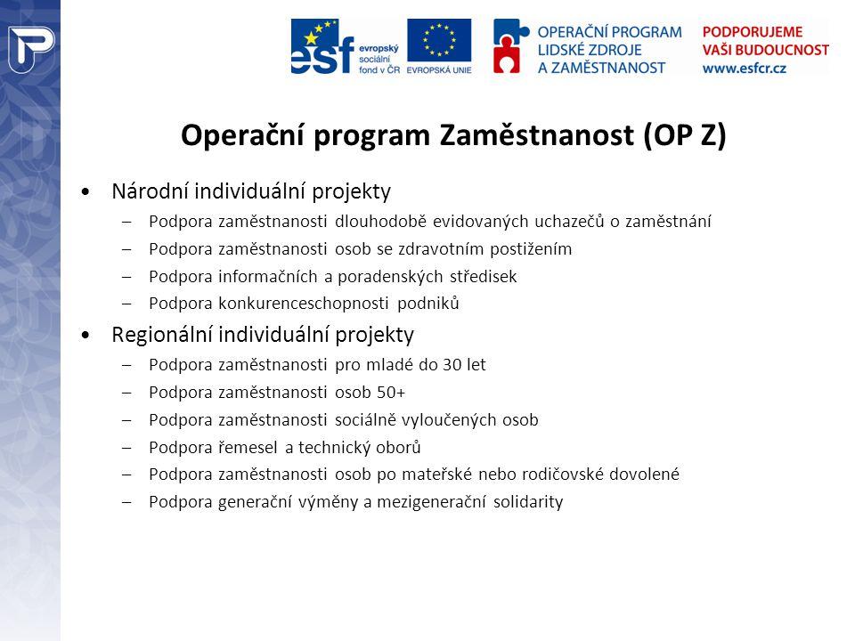 Operační program Zaměstnanost (OP Z) Národní individuální projekty –Podpora zaměstnanosti dlouhodobě evidovaných uchazečů o zaměstnání –Podpora zaměst