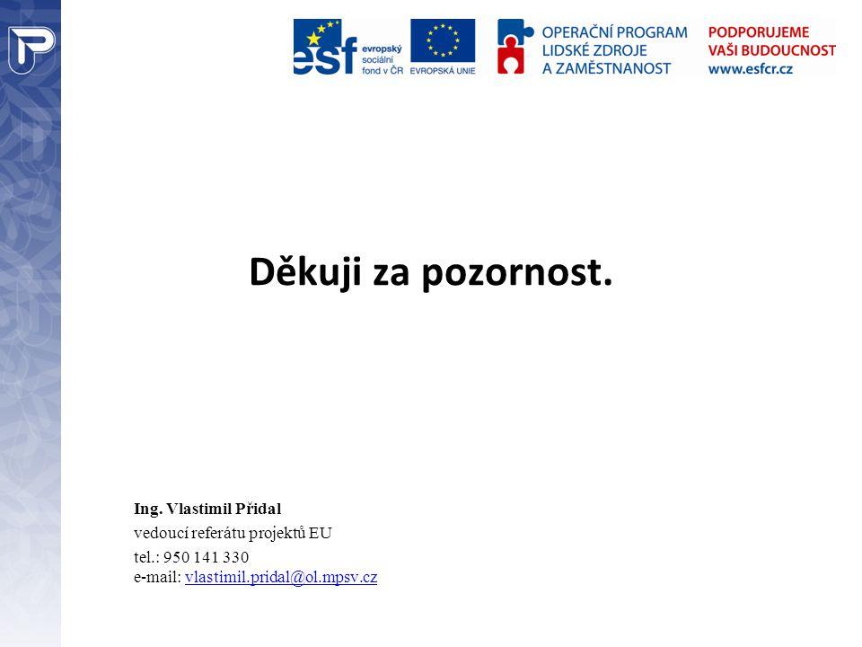 Děkuji za pozornost. Ing. Vlastimil Přidal vedoucí referátu projektů EU tel.: 950 141 330 e-mail: vlastimil.pridal@ol.mpsv.cz
