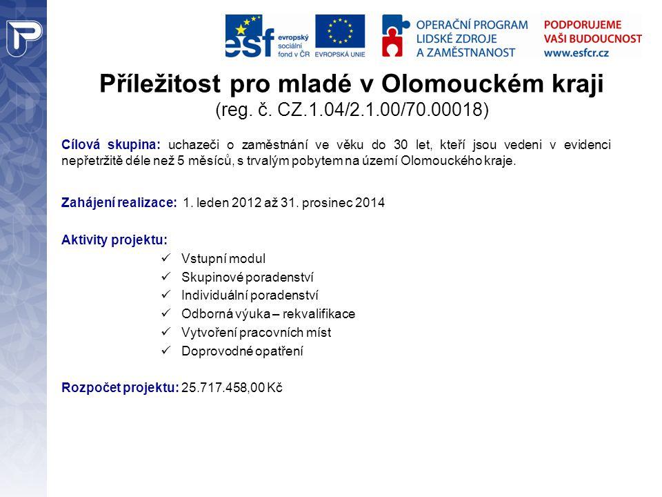 Příležitost pro mladé v Olomouckém kraji (reg. č. CZ.1.04/2.1.00/70.00018) Cílová skupina: uchazeči o zaměstnání ve věku do 30 let, kteří jsou vedeni