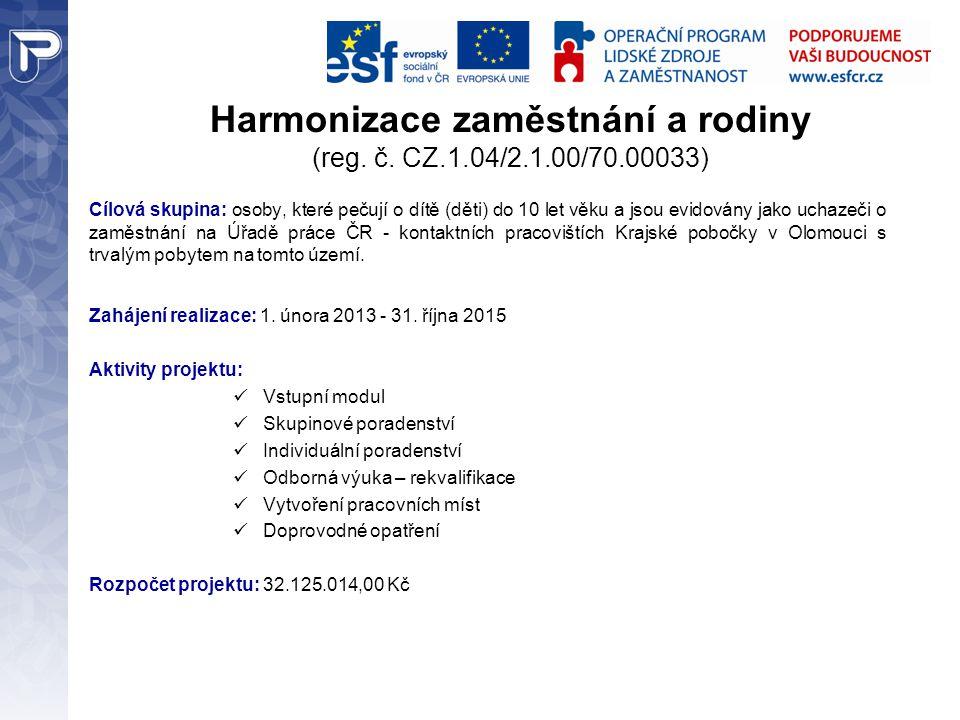 Harmonizace zaměstnání a rodiny (reg.č.