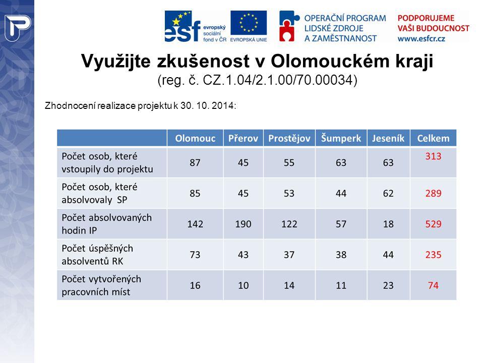 Využijte zkušenost v Olomouckém kraji (reg. č. CZ.1.04/2.1.00/70.00034) Zhodnocení realizace projektu k 30. 10. 2014: