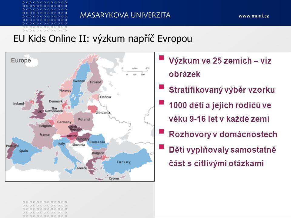 3 EU Kids Online II: výzkum napříč Evropou  Výzkum ve 25 zemích – viz obrázek  Stratifikovaný výběr vzorku  1000 dětí a jejich rodičů ve věku 9-16 let v každé zemi  Rozhovory v domácnostech  Děti vyplňovaly samostatně část s citlivými otázkami