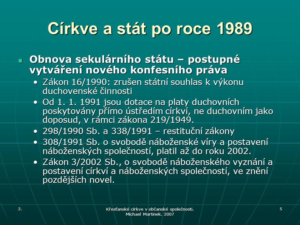 2. Křesťanské církve v občanské společnosti. Michael Martinek. 2007 5 Církve a stát po roce 1989 Obnova sekulárního státu – postupné vytváření nového