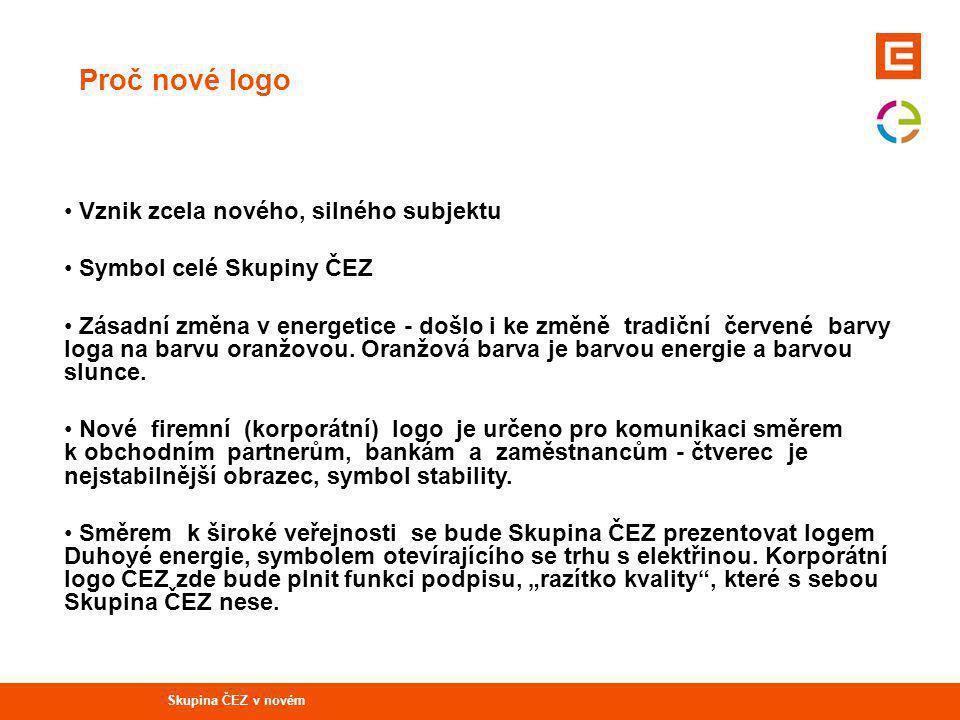 Proč nové logo Skupina ČEZ v novém Vznik zcela nového, silného subjektu Symbol celé Skupiny ČEZ Zásadní změna v energetice - došlo i ke změně tradiční červené barvy loga na barvu oranžovou.